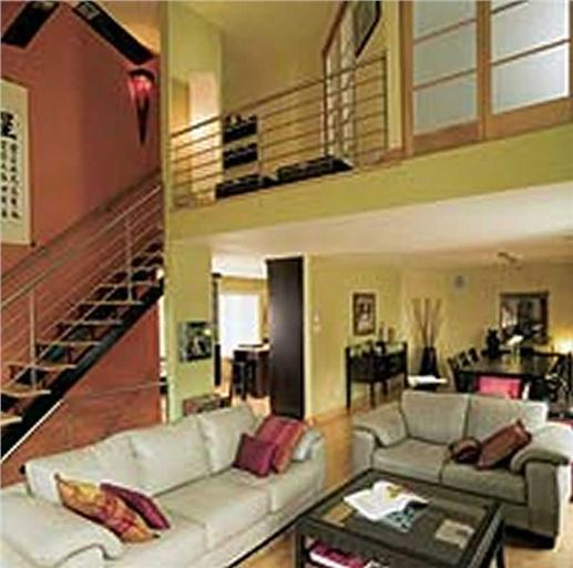 Living room and loft area.