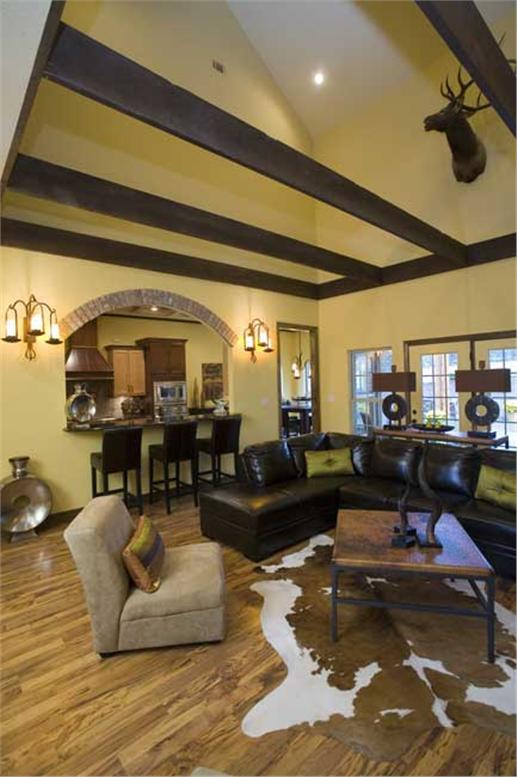Vaulted ceiling of a Great Room with rustic charm