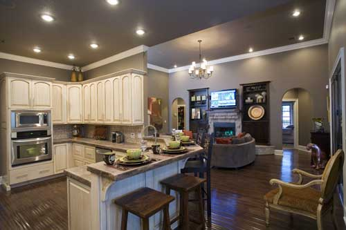 Great Room and kitchen in house plan #153-1210