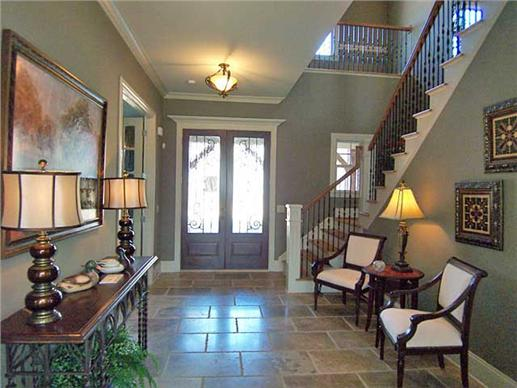 Foyer of this Craftsman style home.