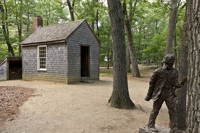 A replica of Henry David Thoreau's cabin on Walden Pond