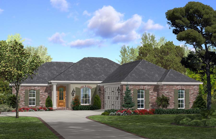Example of ranch with hip roof from Plan #142-1063.