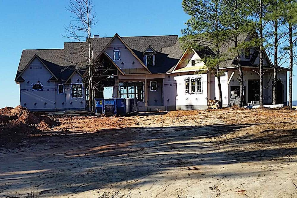 Luxury Cottage home being built and almost finished with the rough closed-in stage