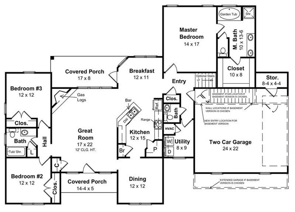 house 141 1153 ranch floor plan - Ranch Floor Plans