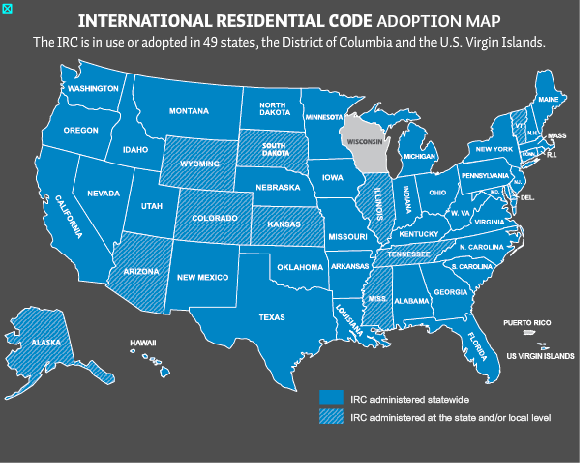 Map showing adoption of International Residential Code for building