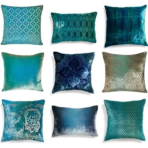 Iridescent and jewel-tone throw pillows