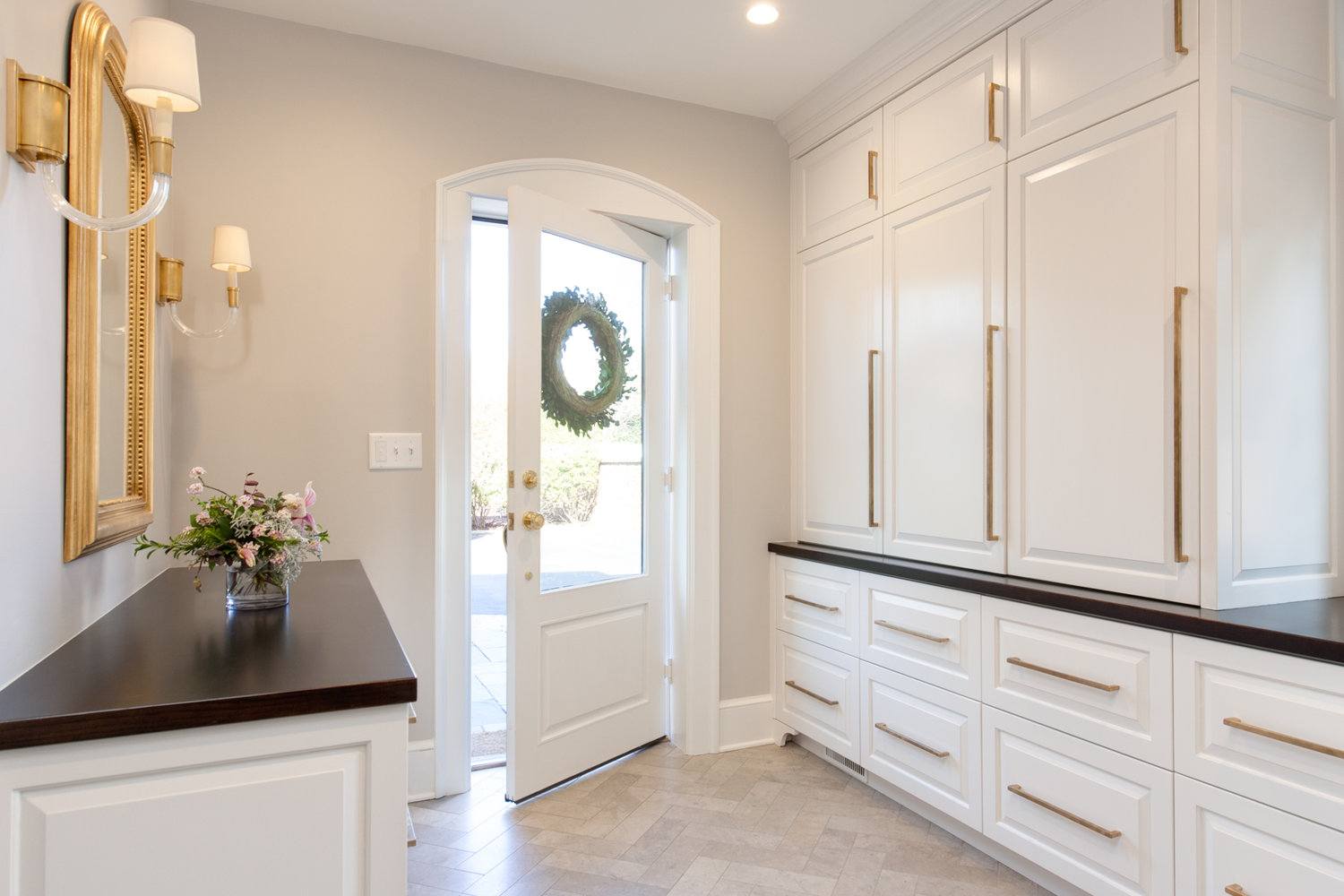 Entry with stylish storage cabinetry