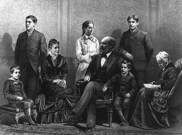 President James Garfield with his family