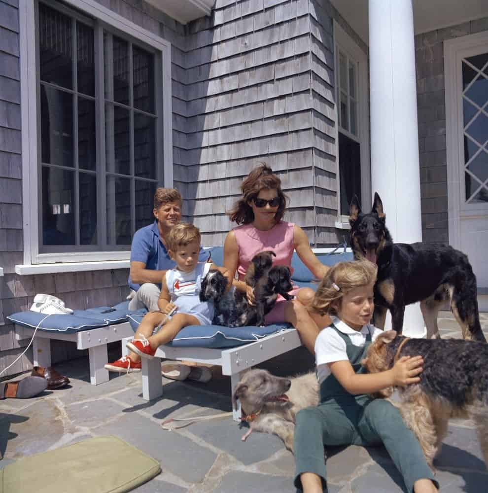 Kennedy family with dogs at Brambletyde house in Hyannis Port 1963