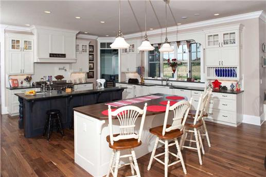 spacious, double-island country kitchen