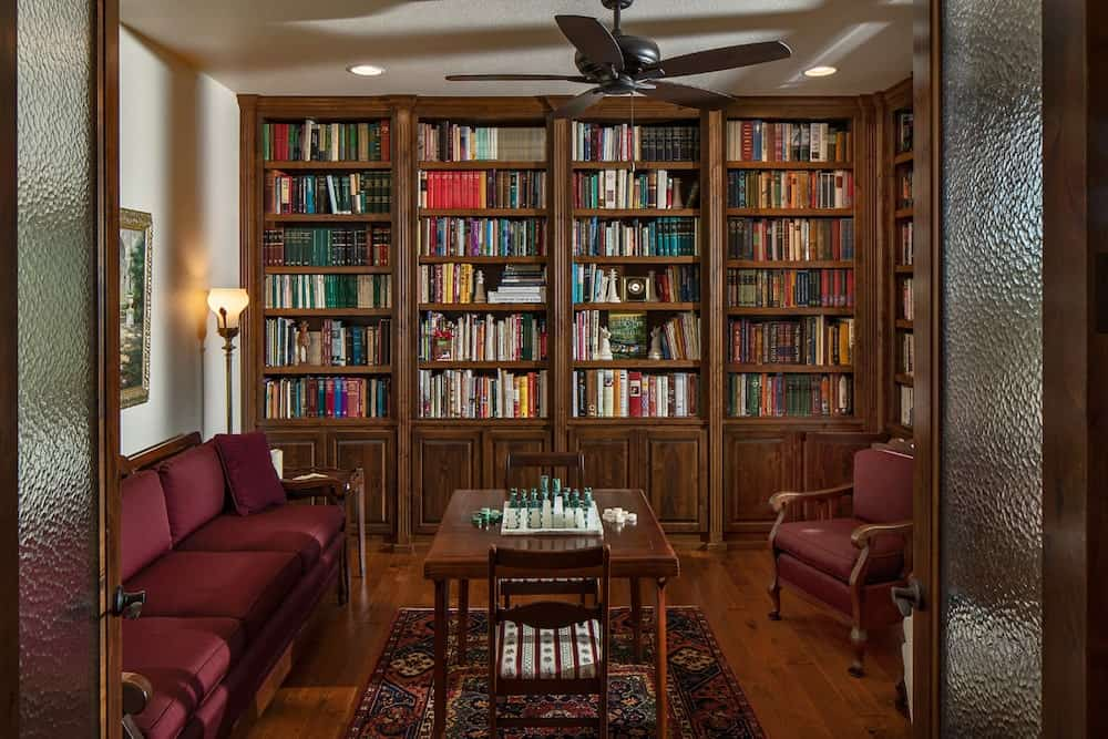 A charming home library designed to display plenty of books.