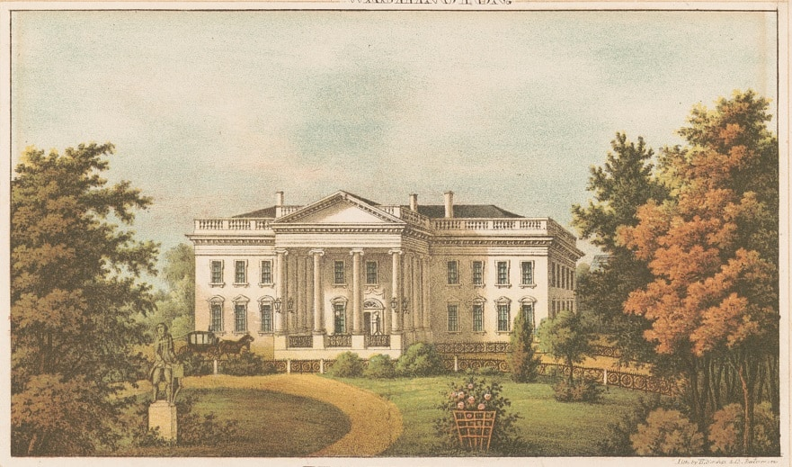Illustration of the Lincoln White House dated 1860-1870