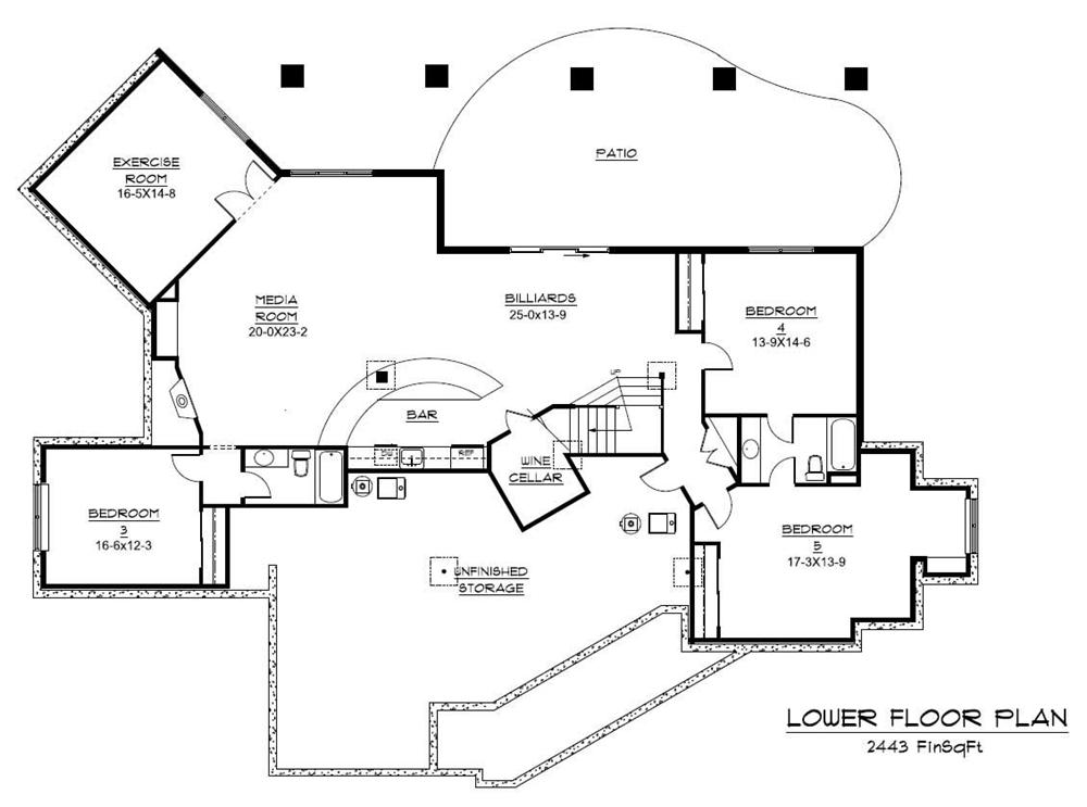 Floor Plan #161-1042 with home gym