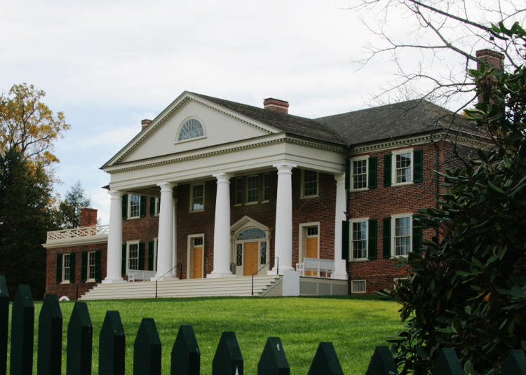 A three-quarter view of James Madison's mansion, Montpelier