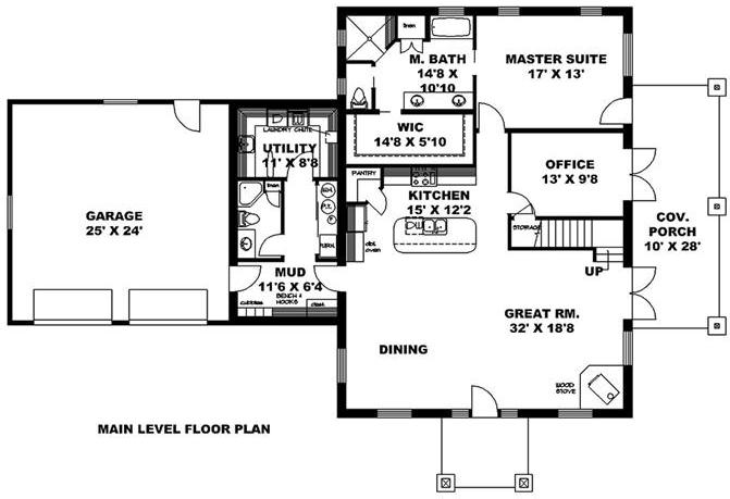 Main level layout of plan #132-1656
