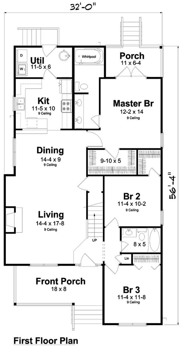 Narrow lot floor plan with private porch for with master suite.