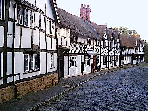 Street in Warwick, UK, showing Tudor style buildings