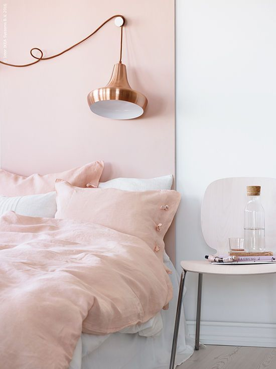 Soft rose  Millennial pink  in a bedroom