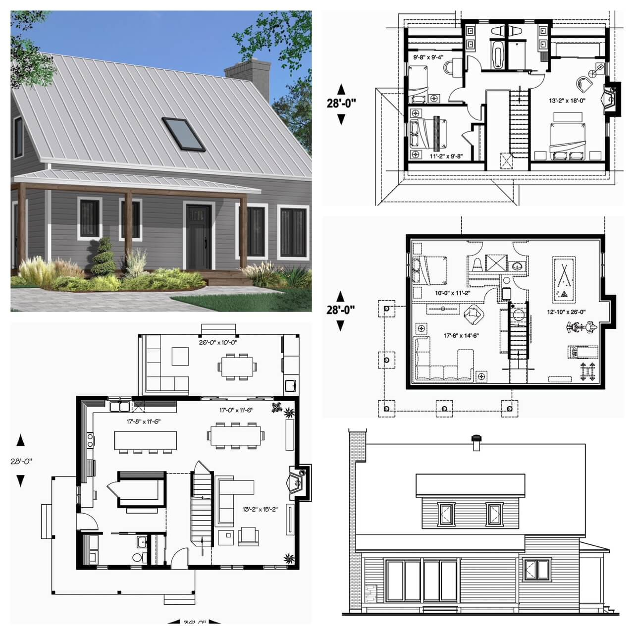Modern Farmhouse Canadian House Plan with Exterior Views and Floor Plans