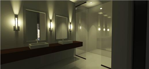 Very modern and streamlined master bathroom with walk-in rain shower.