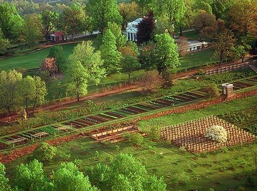 Monticello - arial view of gardens with home in distance.