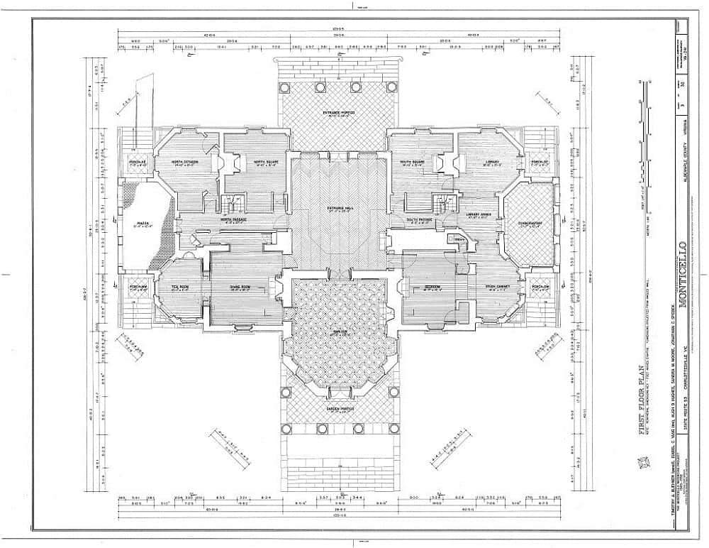 Monticello blueprints showing the floor plans for the first floor.