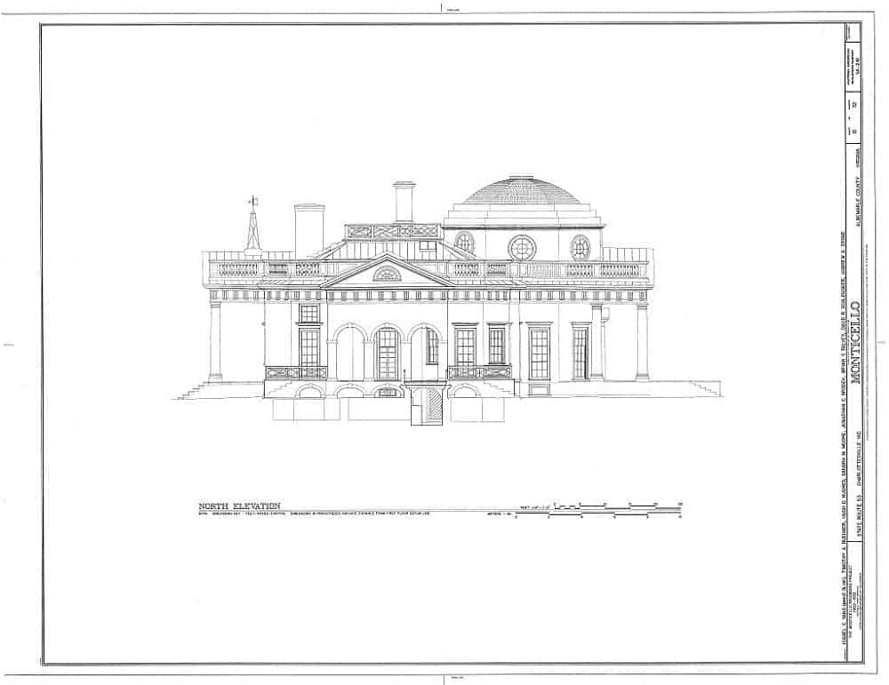 Jefferson's Monticello - blueprints showing the North Elevation