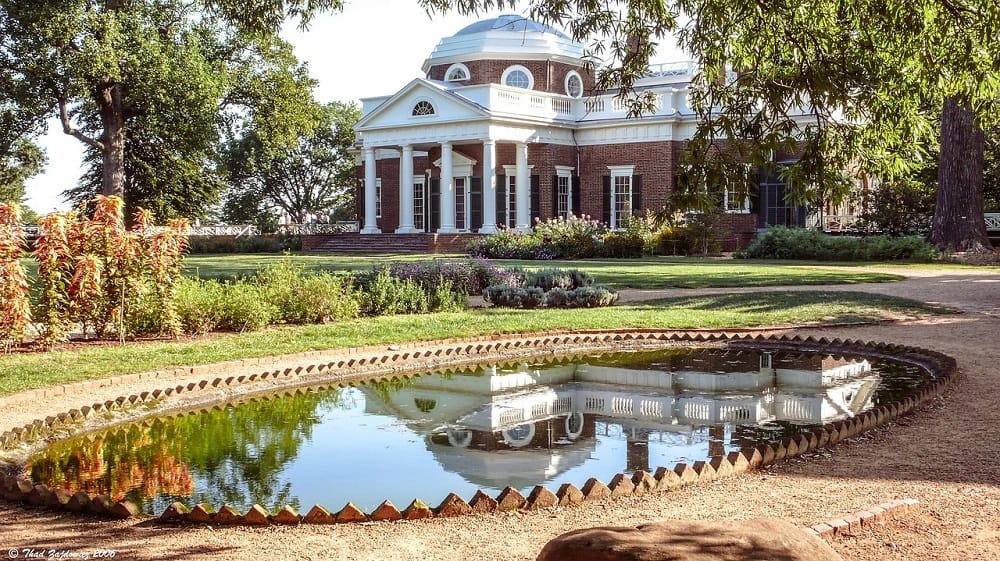 Jefferson's Monticello with reflecting pool and garden in the foreground