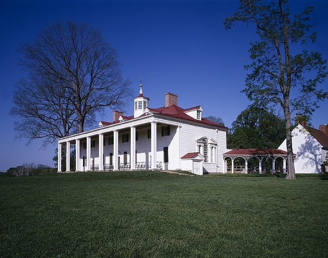 Mount Vernon - President George Washington's home - as seen from the Potomac River side in Virginia