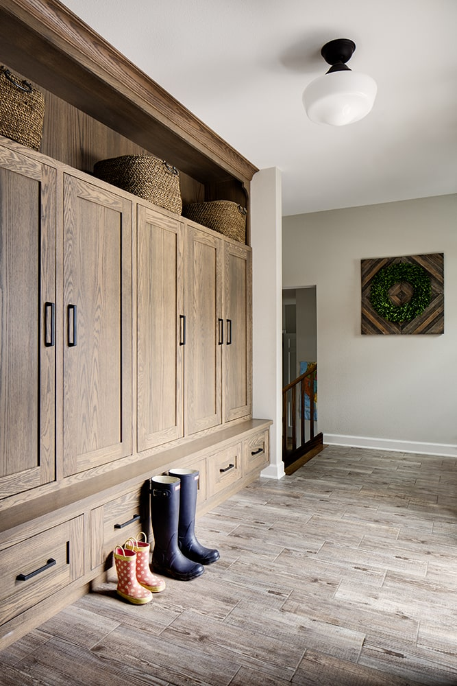 Stylish natural wood lockers in a mudroom