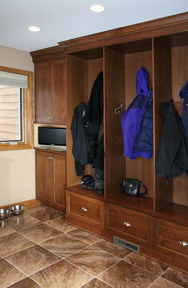 Mudroom with lockers and waterproof flooring