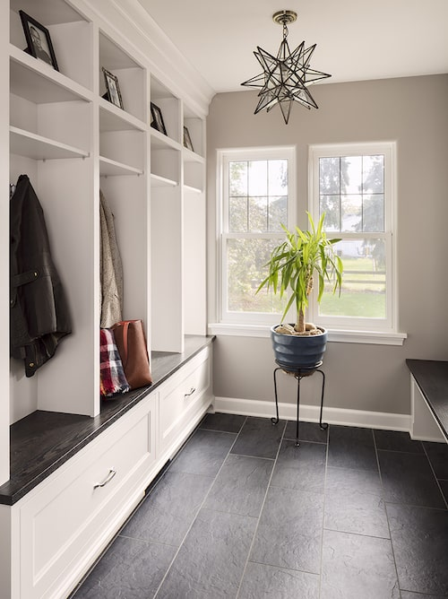 Locker-and-bench setup in a mudroom