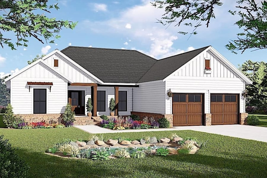 3-Bedroom, 1600 Sq Ft Ranch Plan #141-1316 with split Bedroom Layout