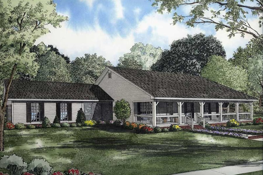 3-Bedroom, 1800 Sq Ft Southern Ranch Plan #153-1744 with long porch.