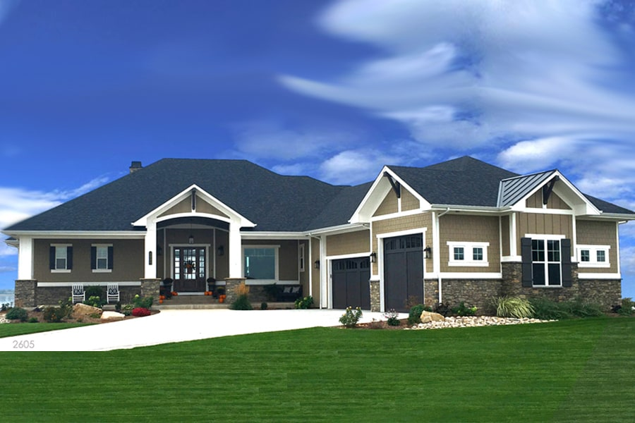 Ranch-style Craftsman house plan #194-1010 with 2605 square feet.