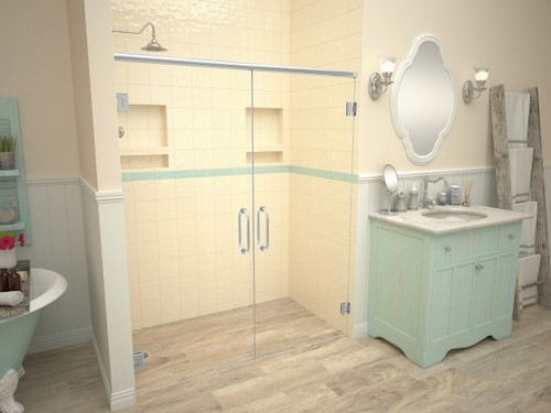 Wood-grain porcelain tile in bathroom and shower with nonslip finish