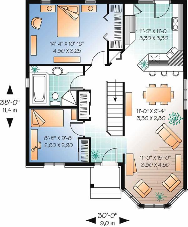 Small House Plan Layout With Simple Including An Open Floor And 2 Bedrooms