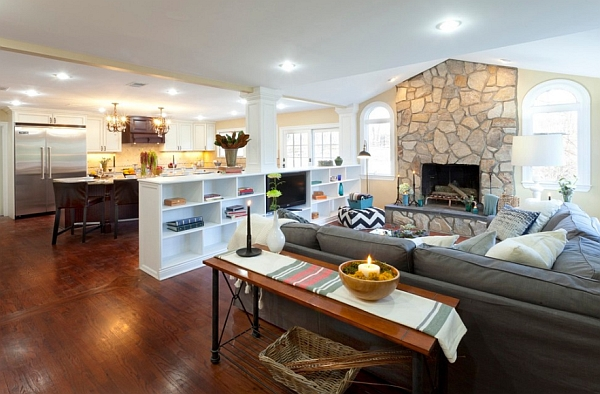 The open floor plan welcome to a home without walls - Open shelving living room ...
