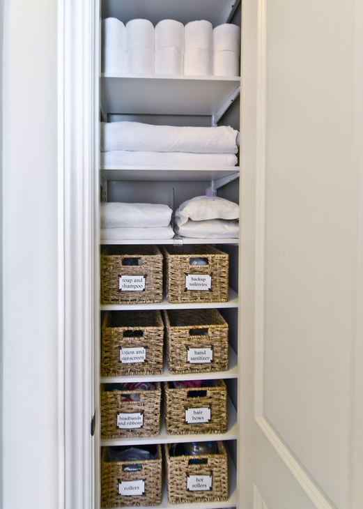 Well organized linen closet
