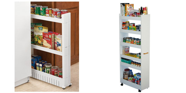 Vertical storage unit for tight spots in kitchen