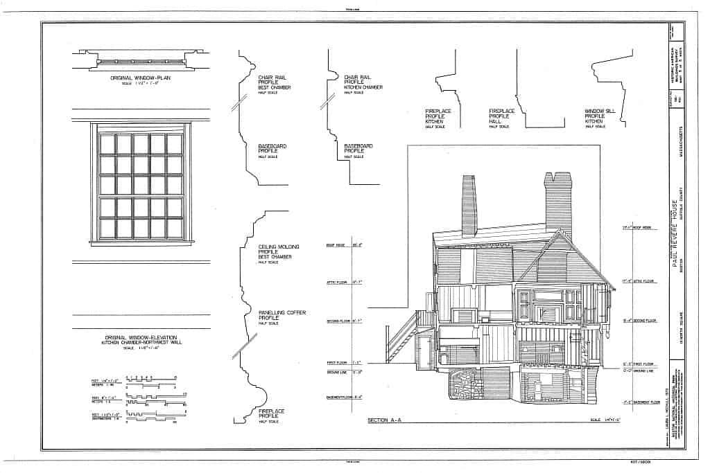 Floor plans of Paul Revere House