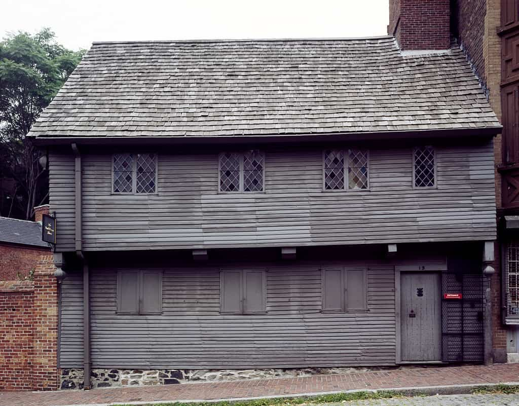 Paul Revere House in Boston, MA as seen from the street (front elevation)