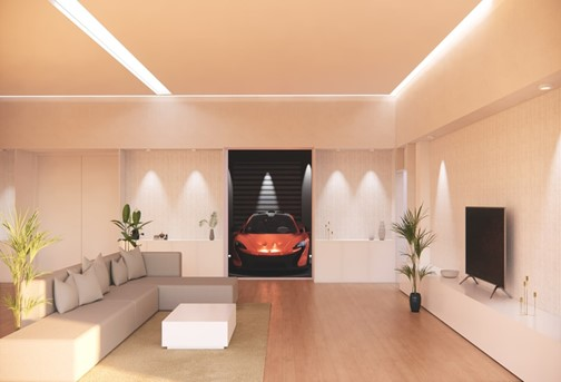 Amazing minimalist living room with LED light strips in the ceiling