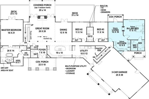 Main level floor plan layout of plan #106-1315 showing optional in-law suite