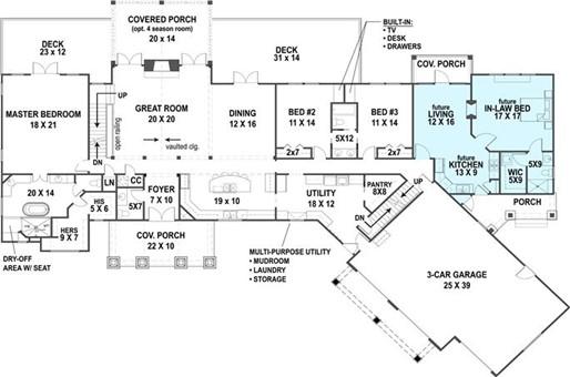 Main level floor plan layout of plan