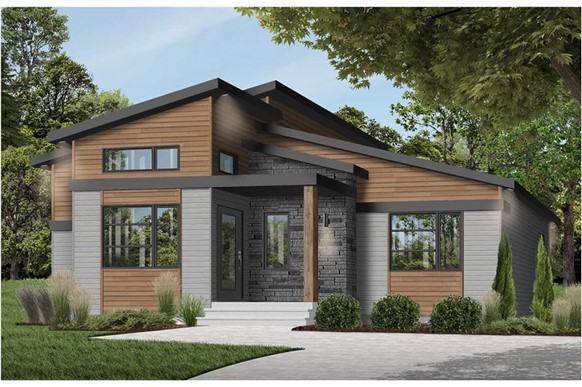 Contemporary style home with double shed roof and painted and natural wood siding