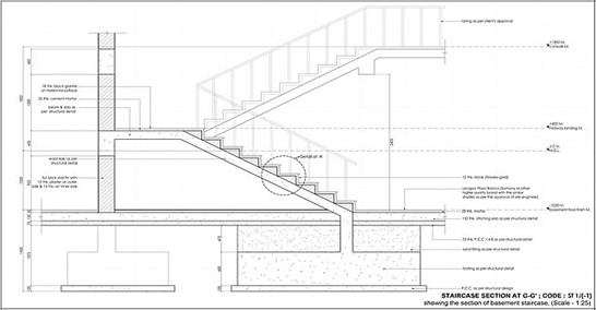 Curving staircase with elaborate architectural detailing