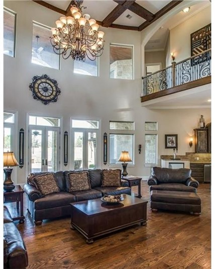 Two-story-tall Great Room with clerestory windows and balcony