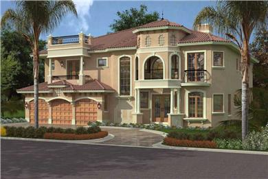 Mediterranean Style Villa House Plan 107-1093 with tropical landscaping.