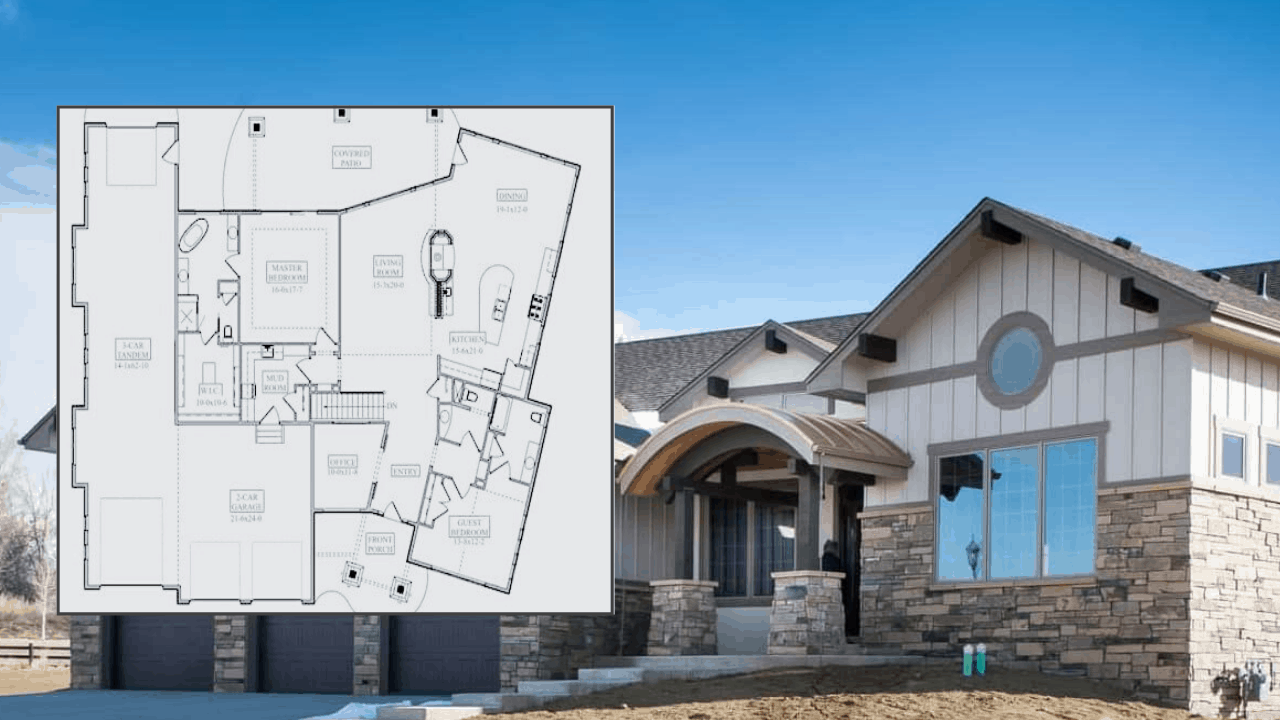 2,594-sq.-ft. Ranch style home with two bedrooms, 2.5 bathrooms, a five-car garage, and a basement - front view plus inset of floor plan